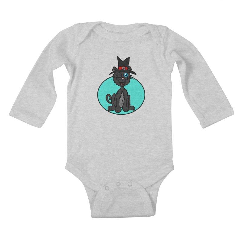 Black Cat Witch Kids Baby Longsleeve Bodysuit by ericallen's Artist Shop
