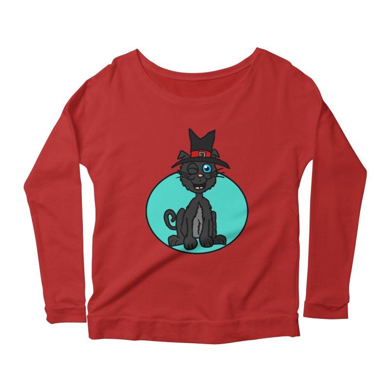 Black Cat Witch Women's Longsleeve Scoopneck  by ericallen's Artist Shop