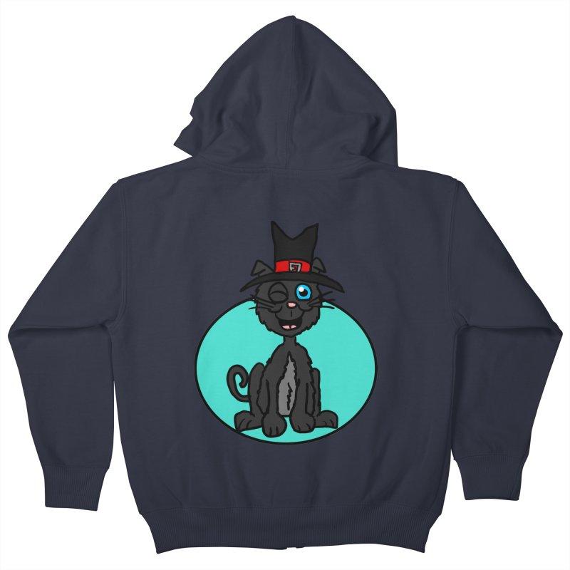 Black Cat Witch Kids Zip-Up Hoody by ericallen's Artist Shop