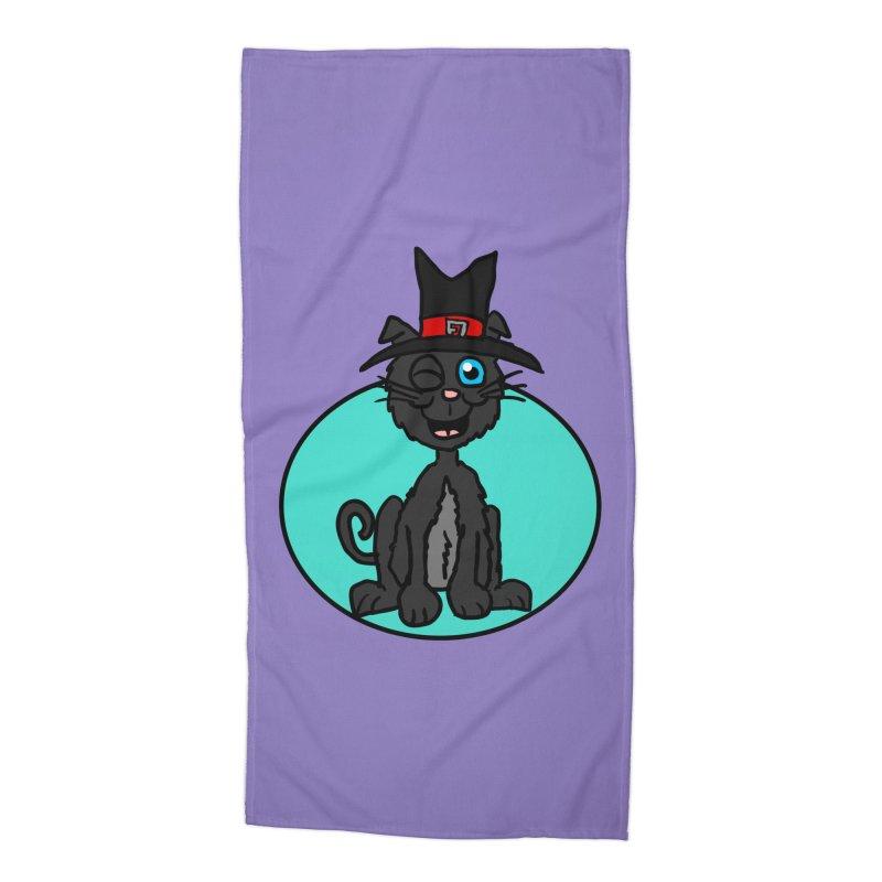 Black Cat Witch Accessories Beach Towel by ericallen's Artist Shop