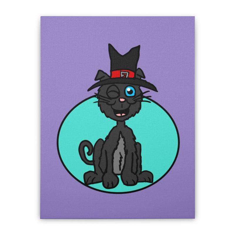Black Cat Witch Home Stretched Canvas by ericallen's Artist Shop