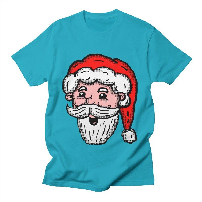 Cartoon Santa Head in Men's T-shirt Cyan by ericallen's Artist Shop