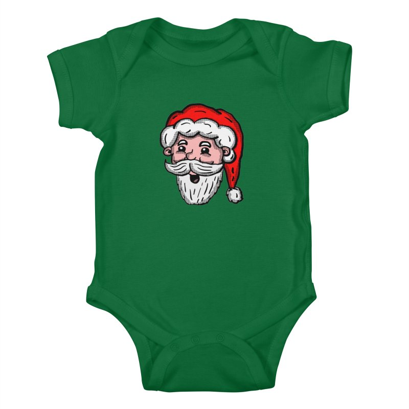 Cartoon Santa Head Kids Baby Bodysuit by ericallen's Artist Shop
