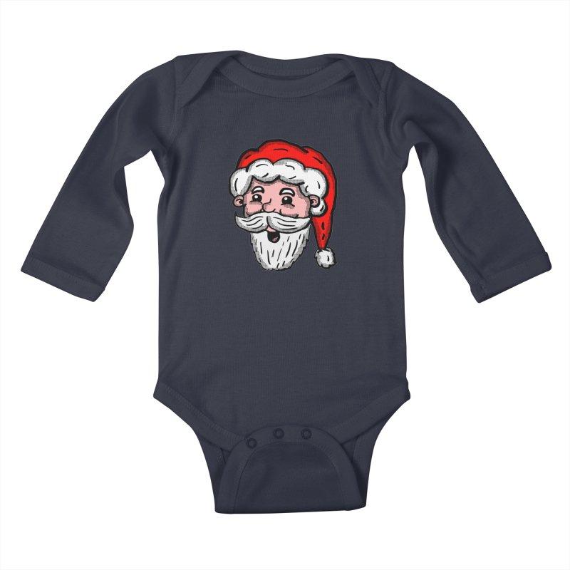 Cartoon Santa Head Kids Baby Longsleeve Bodysuit by ericallen's Artist Shop