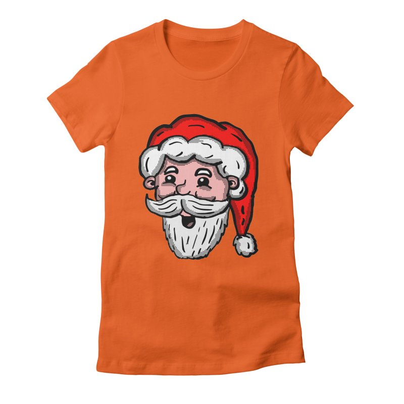 Cartoon Santa Head Women's Fitted T-Shirt by ericallen's Artist Shop