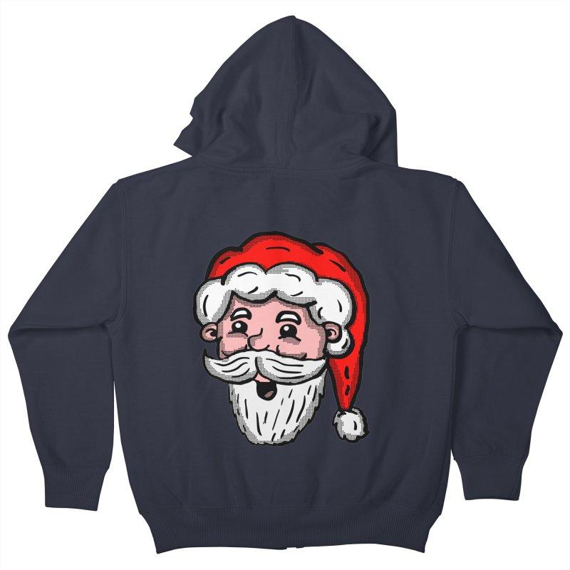 Cartoon Santa Head Kids Zip-Up Hoody by ericallen's Artist Shop