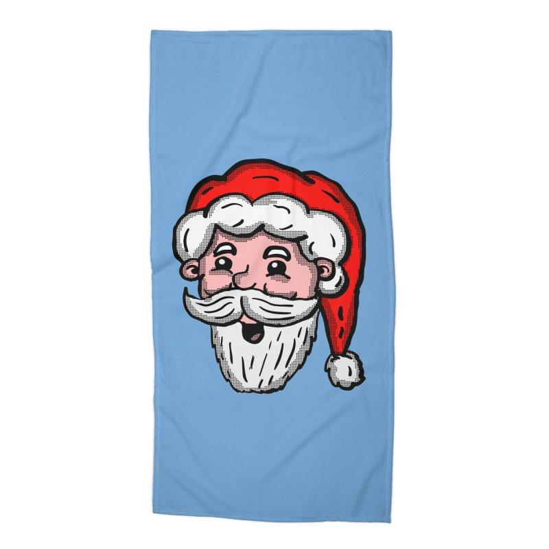 Cartoon Santa Head Accessories Beach Towel by ericallen's Artist Shop