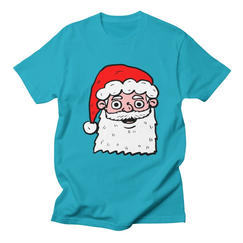 Cartoon Santa Head 2 in Men's T-shirt Cyan by ericallen's Artist Shop