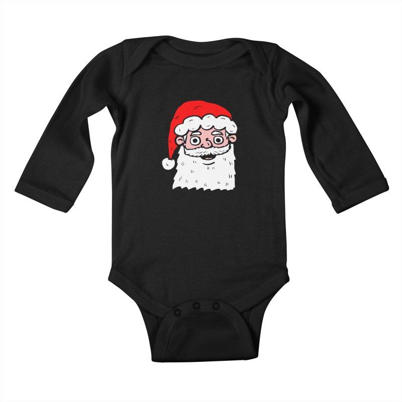 Cartoon Santa Head 2 Kids Baby Longsleeve Bodysuit by ericallen's Artist Shop