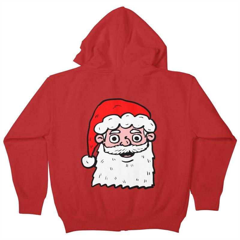 Cartoon Santa Head 2 Kids Zip-Up Hoody by ericallen's Artist Shop