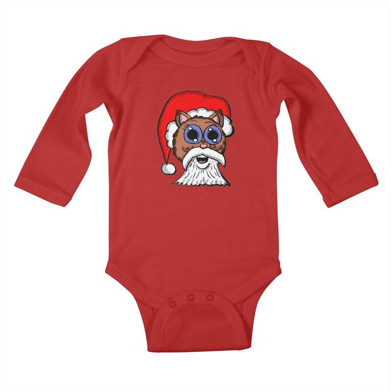 Santa Kitty Kids Baby Longsleeve Bodysuit by ericallen's Artist Shop