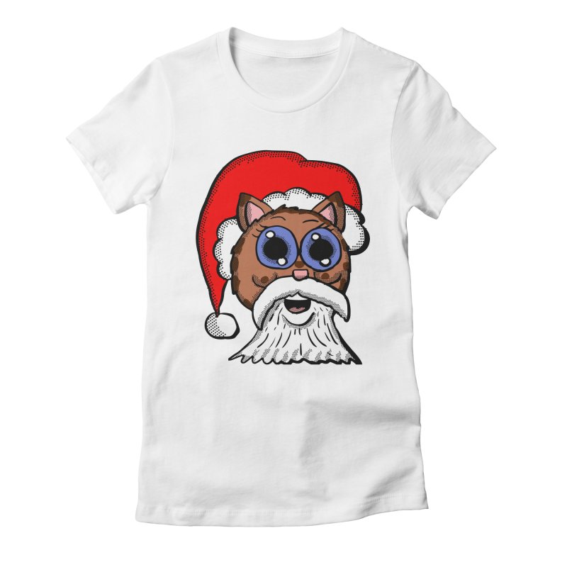Santa Kitty Women's Fitted T-Shirt by ericallen's Artist Shop