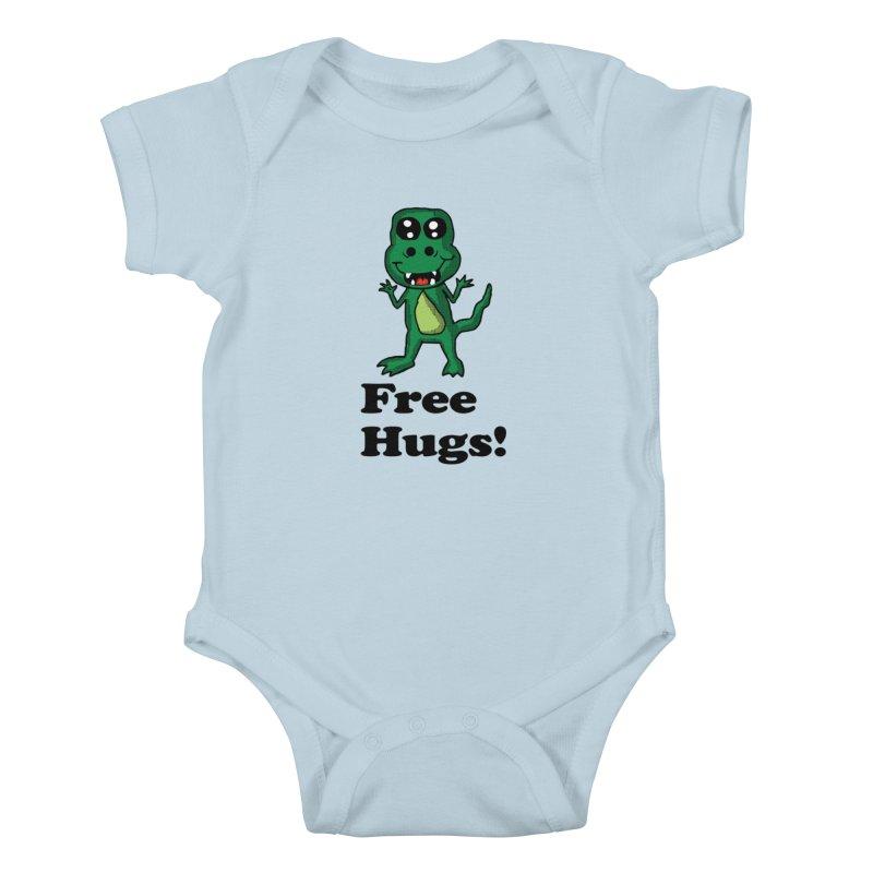 Free Hugs T-Rex Kids Baby Bodysuit by ericallen's Artist Shop