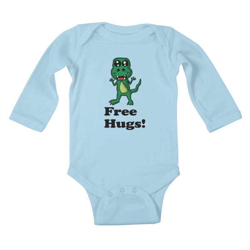 Free Hugs T-Rex Kids Baby Longsleeve Bodysuit by ericallen's Artist Shop