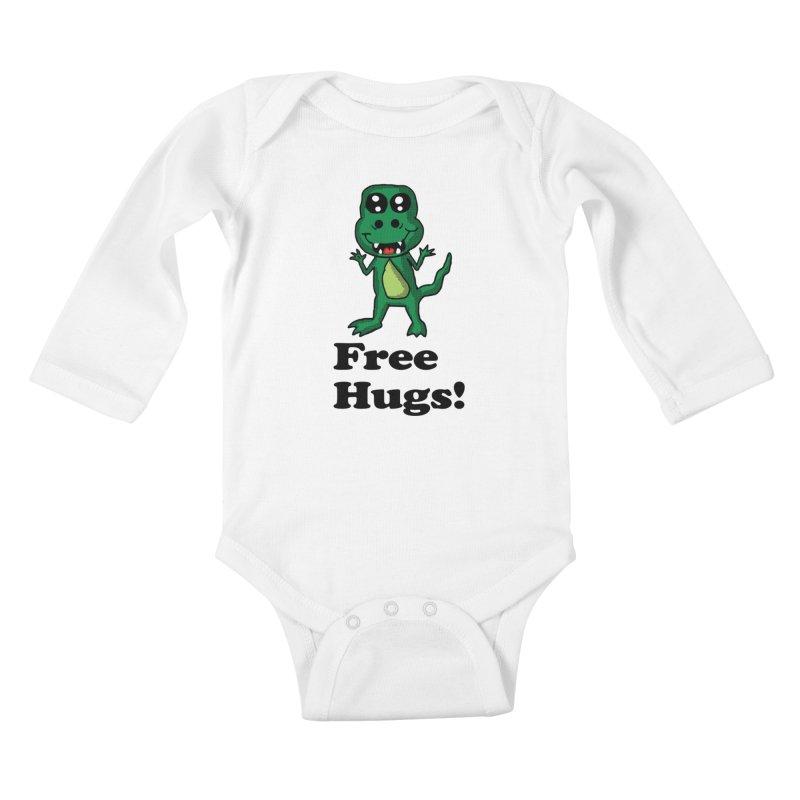 Free Hugs T-Rex Kids Baby Longsleeve Bodysuit by ericallen's Artist Shop