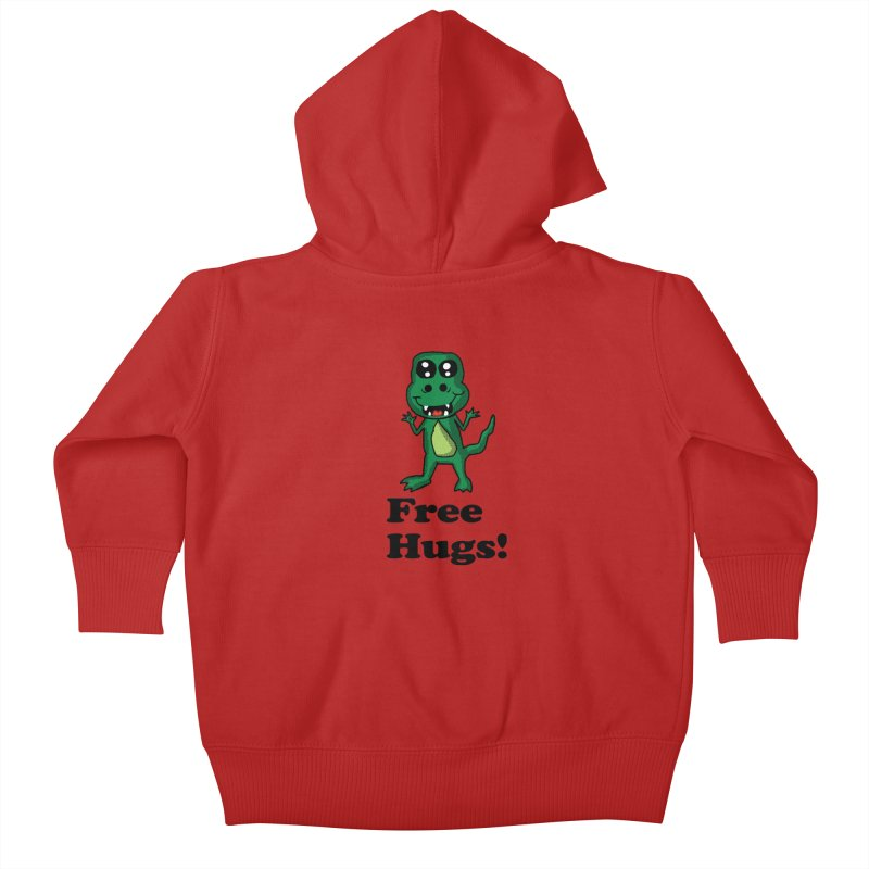 Free Hugs T-Rex Kids Baby Zip-Up Hoody by ericallen's Artist Shop