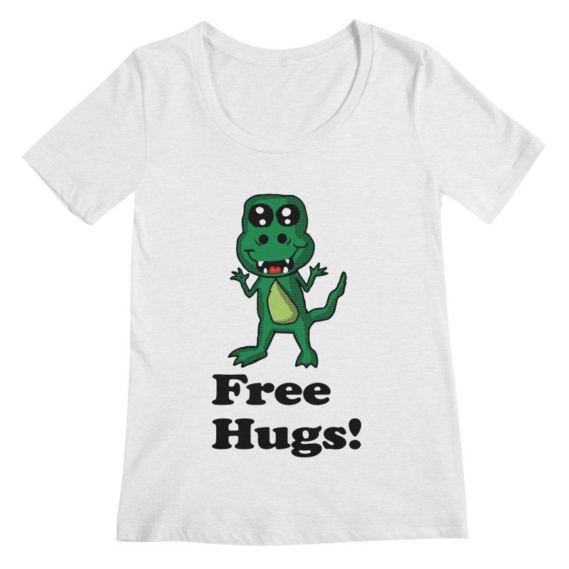 Free Hugs T-Rex Women's Scoopneck by ericallen's Artist Shop