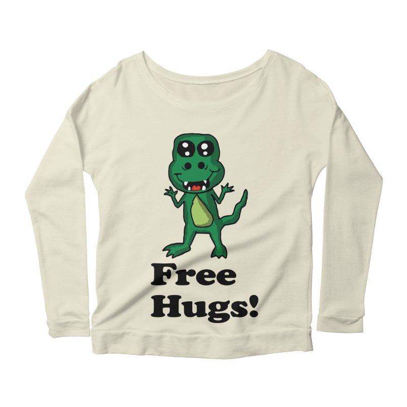 Free Hugs T-Rex Women's Longsleeve Scoopneck  by ericallen's Artist Shop