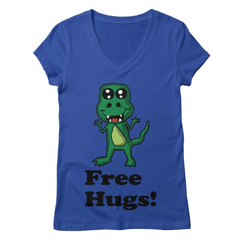 Free Hugs T-Rex Women's V-Neck by ericallen's Artist Shop