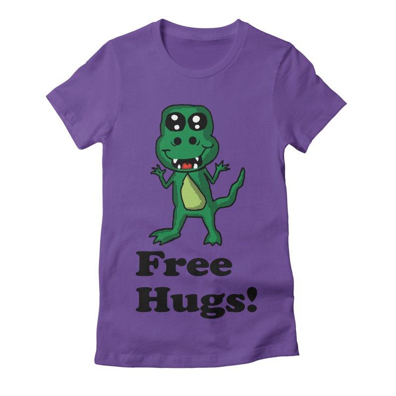 Free Hugs T-Rex Women's Fitted T-Shirt by ericallen's Artist Shop