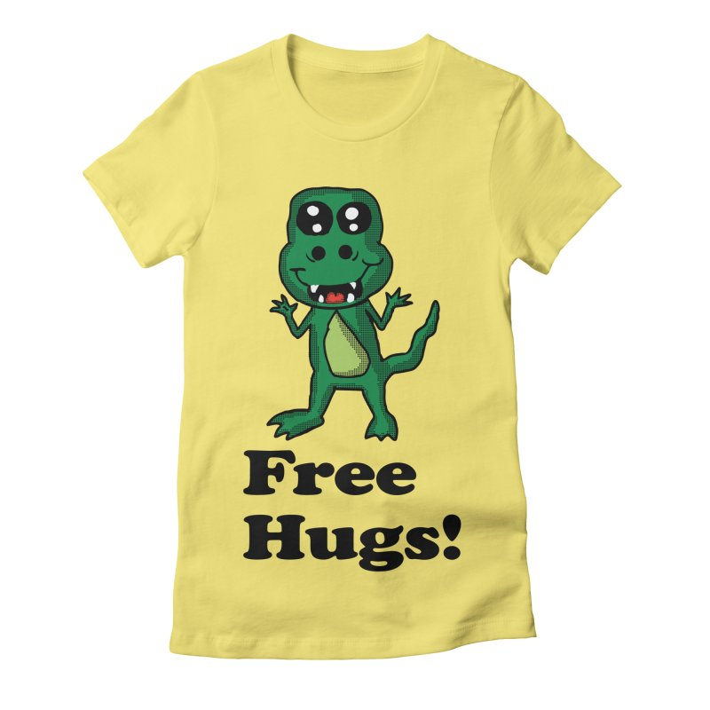 Free Hugs T-Rex Women's Fitted T-Shirt by ericallen's Artist Shop