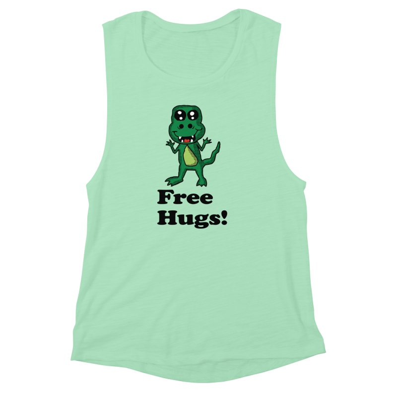 Free Hugs T-Rex Women's Muscle Tank by ericallen's Artist Shop