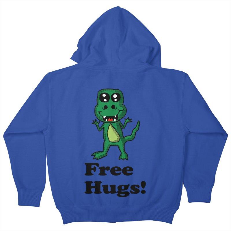 Free Hugs T-Rex Kids Zip-Up Hoody by ericallen's Artist Shop
