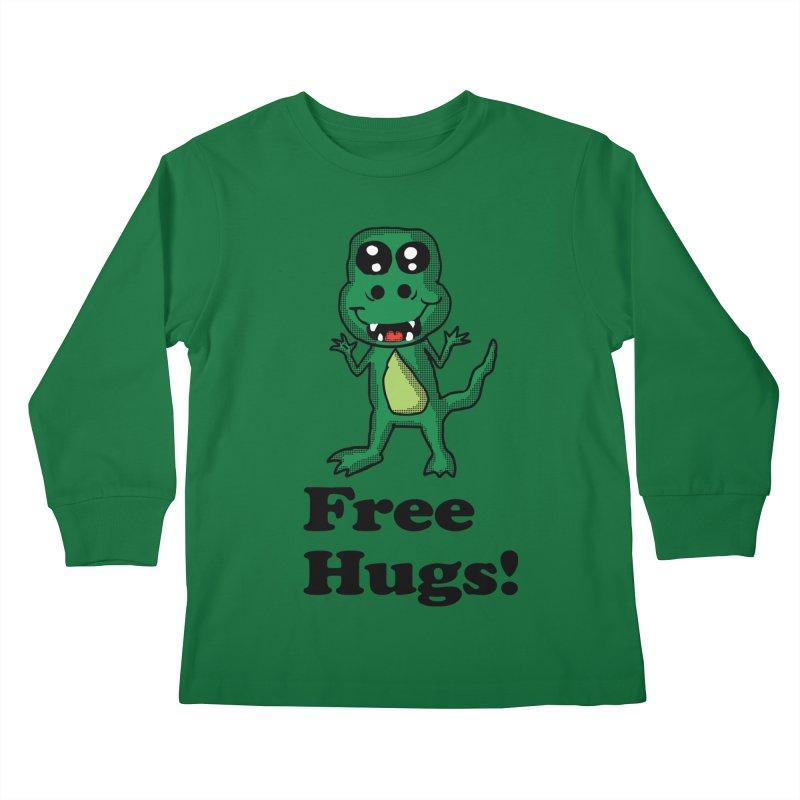 Free Hugs T-Rex Kids Longsleeve T-Shirt by ericallen's Artist Shop