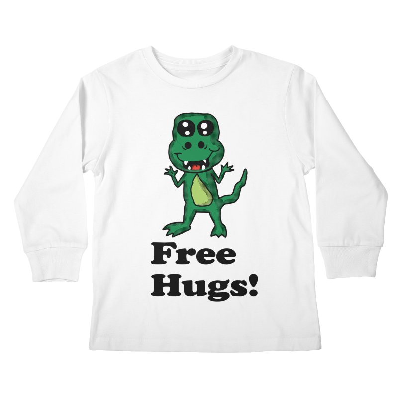 Free Hugs T-Rex Kids Longsleeve T-Shirt by ericallen's Artist Shop
