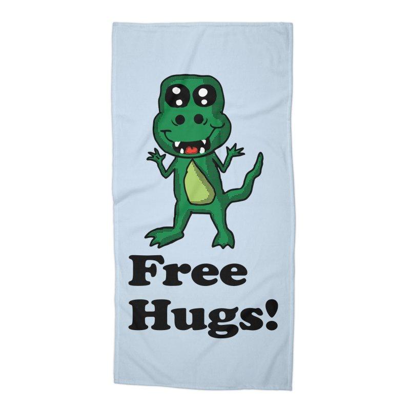 Free Hugs T-Rex Accessories Beach Towel by ericallen's Artist Shop