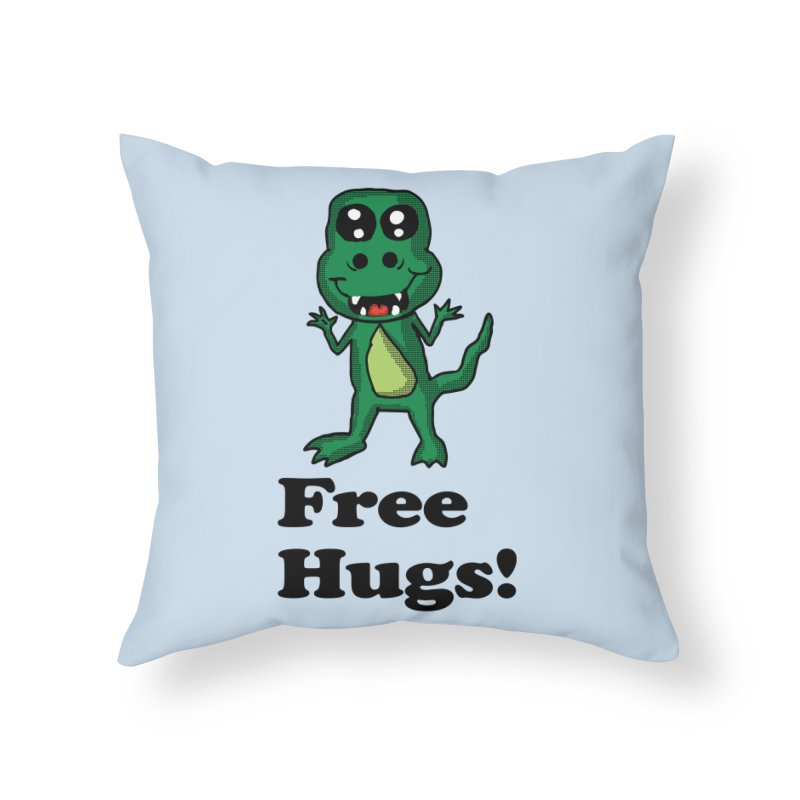Free Hugs T-Rex Home Throw Pillow by ericallen's Artist Shop