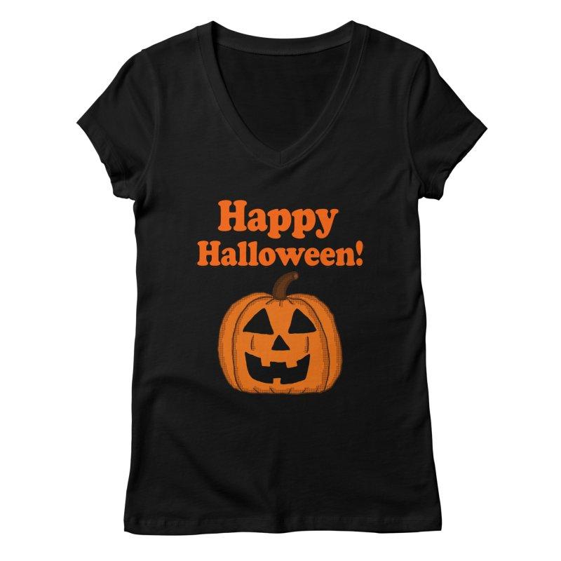 Happy Halloween Jackolantern Women's V-Neck by ericallen's Artist Shop