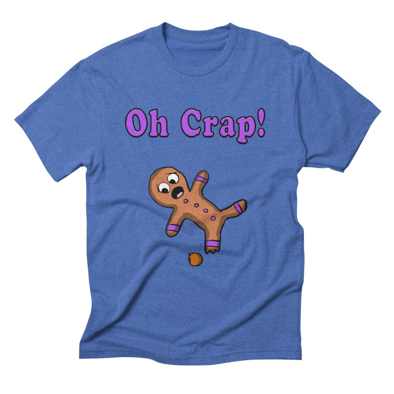 Oh Crap Gingerbread Man in Men's Triblend T-shirt Blue Triblend by ericallen's Artist Shop