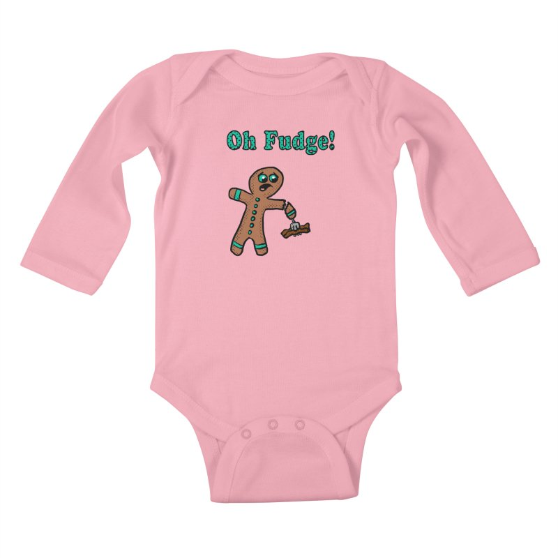 Oh Fudge Gingerbread Man Kids Baby Longsleeve Bodysuit by ericallen's Artist Shop