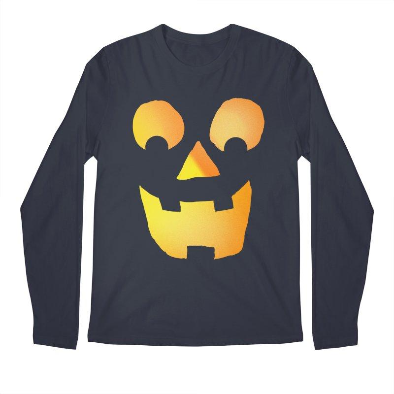 Glowing Jackolantern Face  Men's Longsleeve T-Shirt by ericallen's Artist Shop
