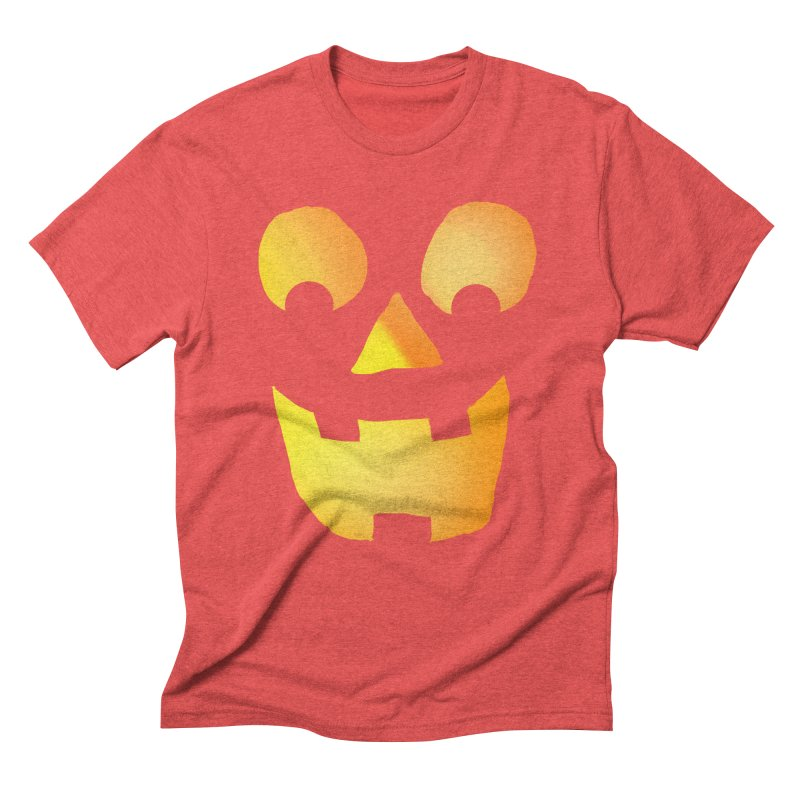 Glowing Jackolantern Face  Men's Triblend T-Shirt by ericallen's Artist Shop