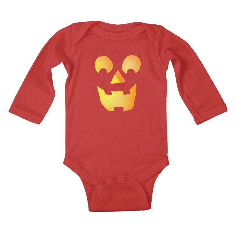 Glowing Jackolantern Face  Kids Baby Longsleeve Bodysuit by ericallen's Artist Shop