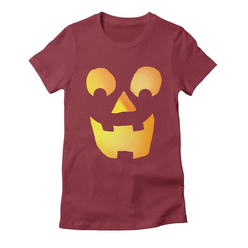 Glowing Jackolantern Face  Women's Fitted T-Shirt by ericallen's Artist Shop