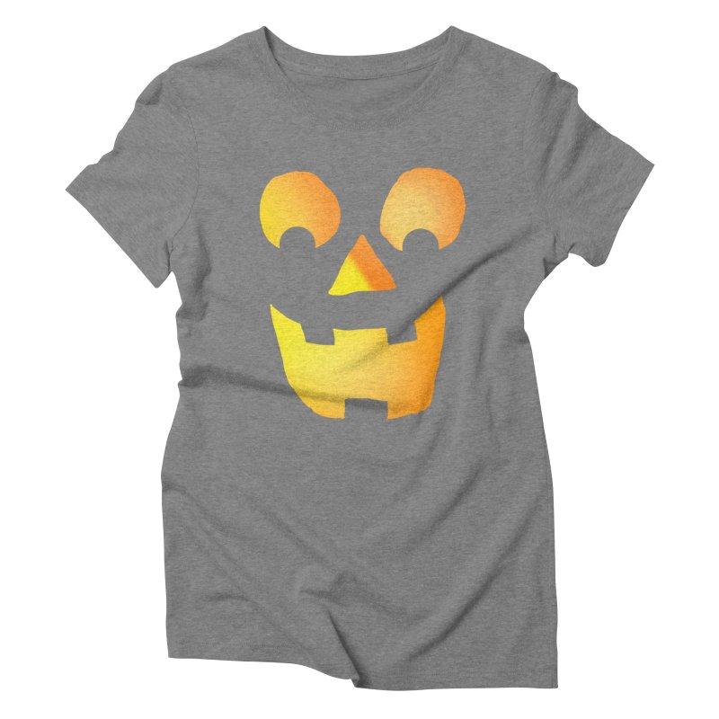 Glowing Jackolantern Face  Women's Triblend T-shirt by ericallen's Artist Shop
