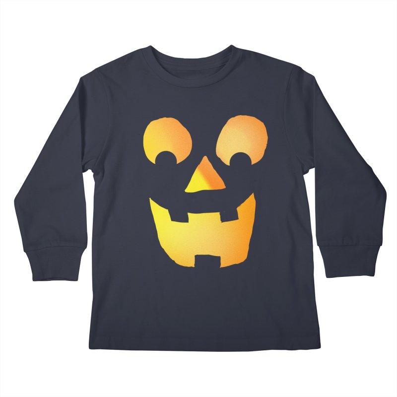 Glowing Jackolantern Face  Kids Longsleeve T-Shirt by ericallen's Artist Shop