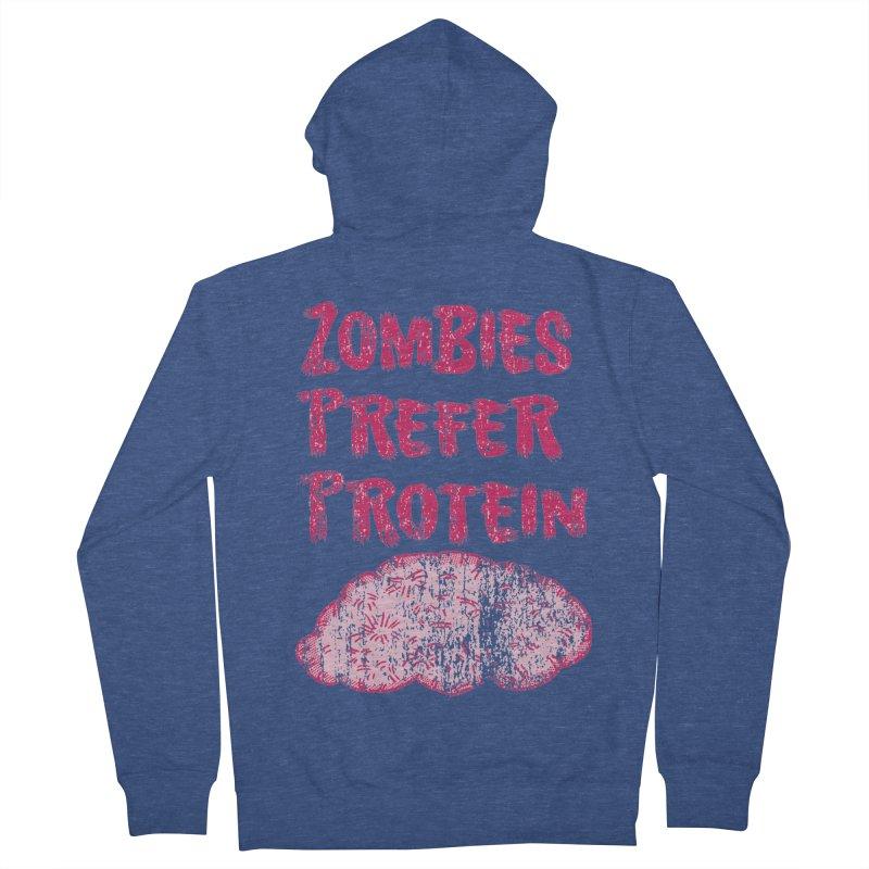 Vintage Zombies Prefer Protein Men's Zip-Up Hoody by ericallen's Artist Shop