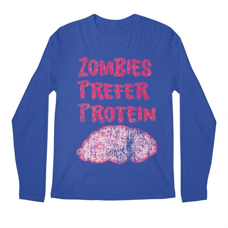 Vintage Zombies Prefer Protein Men's Longsleeve T-Shirt by ericallen's Artist Shop