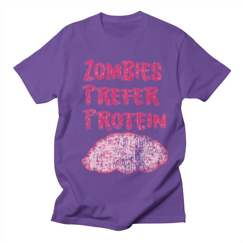 Vintage Zombies Prefer Protein in Men's T-shirt Purple by ericallen's Artist Shop