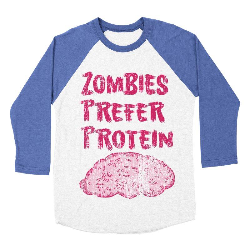 Vintage Zombies Prefer Protein Men's Baseball Triblend T-Shirt by ericallen's Artist Shop