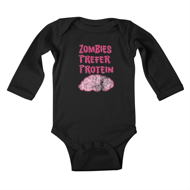 Vintage Zombies Prefer Protein Kids Baby Longsleeve Bodysuit by ericallen's Artist Shop