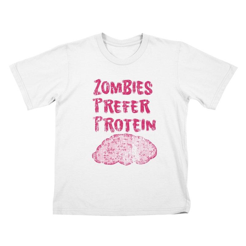 Vintage Zombies Prefer Protein Kids T-shirt by ericallen's Artist Shop