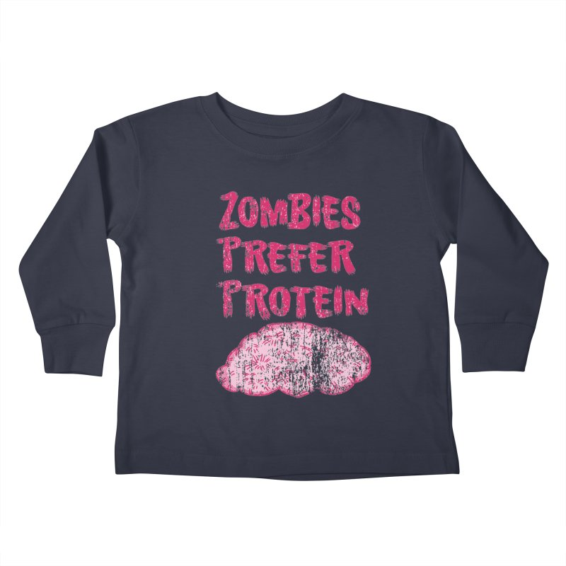 Vintage Zombies Prefer Protein Kids Toddler Longsleeve T-Shirt by ericallen's Artist Shop