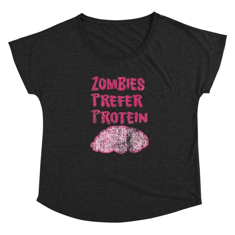 Vintage Zombies Prefer Protein Women's Dolman by ericallen's Artist Shop