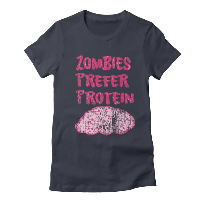Vintage Zombies Prefer Protein Women's Fitted T-Shirt by ericallen's Artist Shop