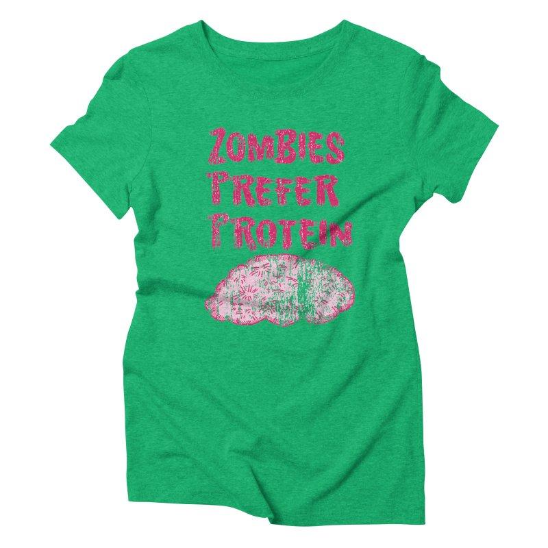 Vintage Zombies Prefer Protein Women's Triblend T-shirt by ericallen's Artist Shop
